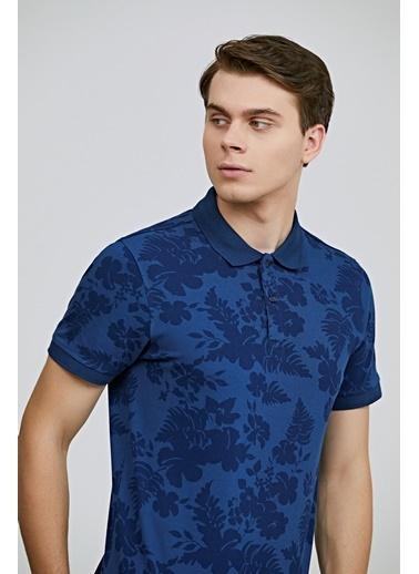 TWN Slim Fit  Baskılı T-Shirt İndigo
